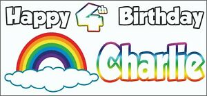 2 PERSONALISED Rainbow 4th Birthday Banner Decorations Girls Boys Son Daughter
