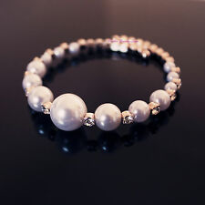 Lovely Fashion 18K Rose Gold Plated Pearl Open Bangle With Crystal