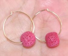 UNDYED RED SEA CORAL BALL DROP HOOPS VINTAGE 14K GOLD FILLED 17MM EARRINGS