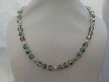 Rose and Green Faceted Crystal Bead and Silver Tone Heart Necklace