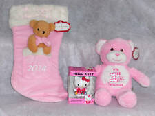 Girl's First Baby Christmas Stocking,Bear and Hello Kitty Ornament Dated 2014