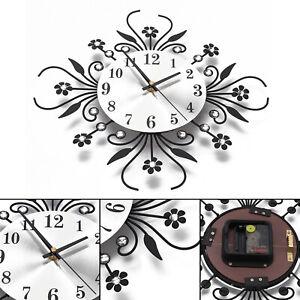 Large 3D Wall Clock Art Metal Diamonds Flower Silent Clock Home Office Decor DIY