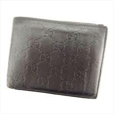b1c373bebabd Gucci Wallet Purse Bifold Guccissima Black leather Woman Authentic Used Q549