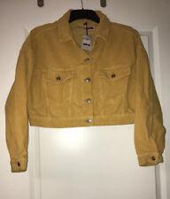 Topshop Moto Corded Yellow Crop Jacket Size 10