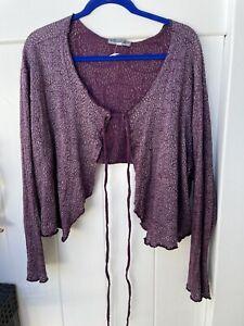 Blue Fish Size 2 Purple Organic Cotton Cardigan Top