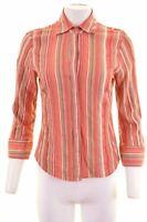 TRUSSARDI Womens Shirt 3/4 Sleeve Size 14 Large Multi Striped Cotton  MC81