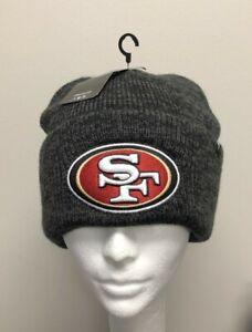 SAN FRANCISCO 49er's Black/Gray Cuffed Knit Beanie Cap Skull Hat by 47 Brand NEW