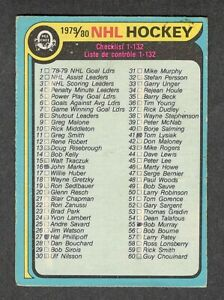 1979-80 MARKED CHECKLIST #131 VG OPC With GRETZKY ** KEY To Set NHL Hockey Card