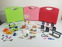 43 Piece Lot Playmobil Playset Rock Star Vet Princess Kids Toys W/ Carrying Case