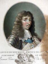 Gravure couleur Aquatinte PORTRAIT LOUIS II DE BOURBON Grand Condé 1787 Sergent