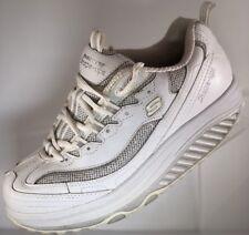 Skechers Shape-Ups Womens Fitness White Athletic Shoes Size 7 Bling w/Glitter