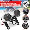 2 in1 Motorrad Blau LED Tacho Tachometer Drehzahlmesser Instrumente Halterung