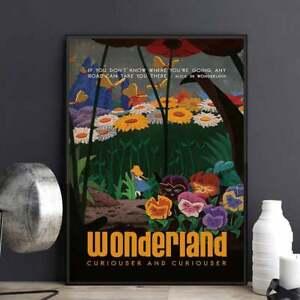 Disney Alice In Wonderland Poster, Alice in Wonderland Art, Vintage Alice