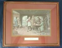"Vtg English Art ""The Start"" Print Framed Hunting Bar Scene H 11.75"" x L 14.75"" *"