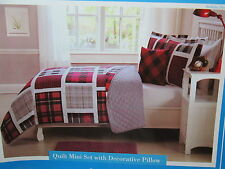 Kids Expressions BUFFALO PLAID Full Quilt ,Shams, Decorative Pillow Set Red, Blk