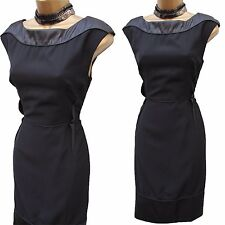 14 UK  KAREN MILLEN Classic Black Faux Leather Contrast Cocktail Wiggle Dress