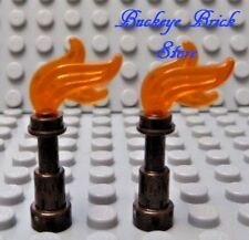 NEW Lego Minifig Six Fire TORCH - Trans Orange Flame Tool/Pirate Kingdom Weapons