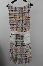 $6100  New CHANEL RUNWAY White Coral Blue LESAGE Fantasy Tweed DRESS w BELT 38