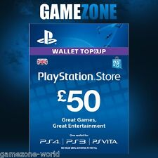 PlayStation Network £50 GBP - 50 Pounds PSN Store Card Key - PS4 PS3 PSP – UK