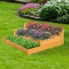Outsunny 3-tier Wooden Raised Garden Bed Vegetable Planter Kit Outdoor Gardening