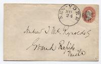 c1861 3 cent Star Die Stamped Envelope New York to Michigan [y1289]