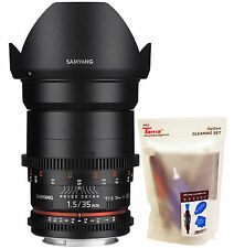 Samyang 35mm T1.5 Cine VDSLR II Version 2 Wide Angle Lens for Canon EOS EF DSLR