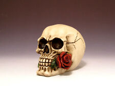 Romantic Skull with Rose in mouth Figurine Statue Skeleton