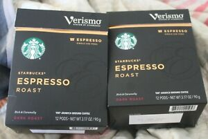 Starbucks Verismo Roast Espresso Pods 12/box x 12 144 total ct BEST BY: 1/21