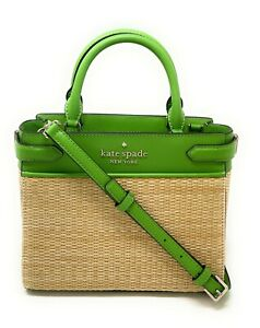 Kate Spade Staci Straw Small Satchel Bag Turaco Green Handbag Crossbody WKR00485