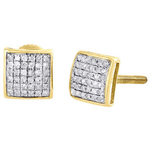 Diamond Square Domed Studs 10K Yellow Gold Round Pave Fashion Earrings 0.20 Tcw.