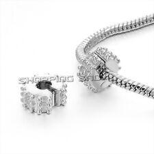 20pcs Silver /P Clip Lock Stopper Clasp Beads Fit European Snake Chain Bracelet