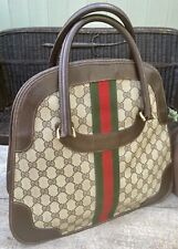 Authentic Gucci Vintage Shery Line PVC Browns Hand/Tote/Bowling Bag🌺