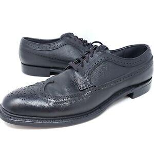 Vintage Knapp Shoes Men's Sz 12 AA Black Wingtip Longwing Pebbled Derby Oxfords