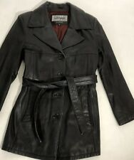Womens Wilson Leather Pelle Studio Small Black Leather Jacket Coat Button Front