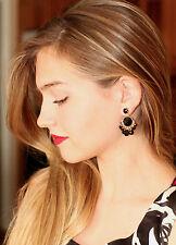 Kate Spade Gold Tone Sunset Blooms Black Drop Earrings Fan Gems chandelier