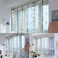 Floral Tulle Door Window Curtain Drape Divider Panel Voile Sheer Scarf Valance