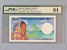 New listing Comoros 2,500 Francs P-13 Nd(1997) Pmg 64