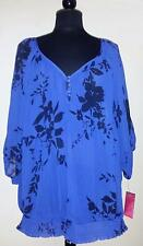 PURE ENERGY SEMI-SHEER BLOUSE TOP ROYAL BLUE NAVY SHORT SLV PLUS SIZE 3 NWT!