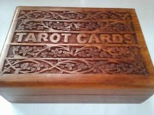 Wooden Sheesham Tarot Card Box -ideal for most sizes of Tarot Cards-keepsake box