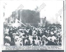 1954 Cairo Egypt Crowd Watched Muslim Brotherhood Headquarter Burn  Press Photo