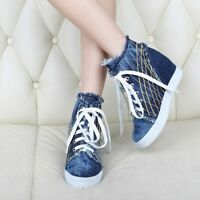 Womens Denim Blue Hidden Wedge Heels Lace Up High Top Sneaker Shoes Ankle Boots