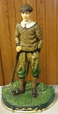 """Vintage Large Painted Cast Iron Golfer Door Stop Paperweight Bookend 14"""""""