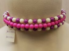 Vintage CORO Beaded Choker Necklace Pink Purple White Tags West Germany 1960's?