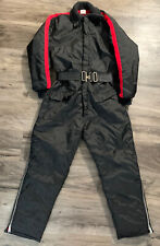 Vintage Snowmobile Snow Ski Winter Suit Womens Size Medium Black Red Strip