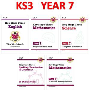 KS3 Year 7 Maths English Science 5 Books Bundle with Answer CGP