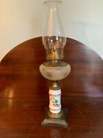 Antq 1800s Composite Oil Lamp White Bristol hand painted Stem Frosted cut Font