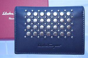 New Salvatore Ferragamo Men's Bifold Wallet CC Holder Credit Card Blue
