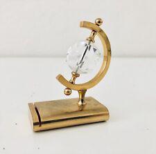 Gorgeous Retro Gold Tone Brass Large Facet Swarovski Crystal Globe Figure Desk