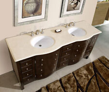 "72"" Bathroom Double Sink Vanity Cabinet Cream Marfil Marble Stone Top 704CM"