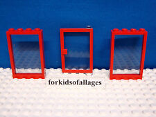 """Lego City Windows & Door Lot-C Red Frames w/Clear """"Glass"""" Hospital Fire Station+"""
